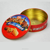 Recyclable feature tin can supplier colorful round candy tin, biscuit tin can, gift tin package