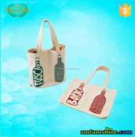 reusable 2 pack bottle canvas double wine bottle gift bag