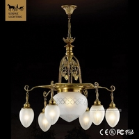 Famous brand Country Style 7 Lights White Living Room Lampshade Bronze Glass casual Chandeliers