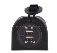 12V 24V Marine Waterproof Auto Truck Car Accessory 1A 2.1A Dual 2 USB Port Power Socket Charger Adapter