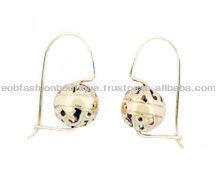 10mm round filigree European Hook gold earring