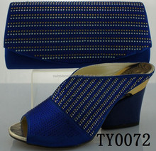High quality African designer shoes and bag to match for women bags to match royal blue