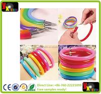 Flexible Ball Pen Cute Soft Plastic Bangle Bracelet Wristlet Circlet Ballpoint Pens School&Office Supplies