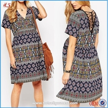 Wholesale Maternity Clothes 100% Polyester Chiffon Folk Print Skater Dress With Lace Up Back