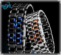 2014 Hot Depth Waterproof Lava Style Iron Samurai All Metal Blue Led Faceless Watches