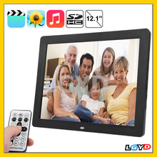 Best Selling 12.1 inch TFT LCD Display Multi-media Digital Photo Frame Built in Stereo Speaker with Remote Control