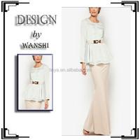 New arrival fashion golden belt baju kurung peplum muslim fashion