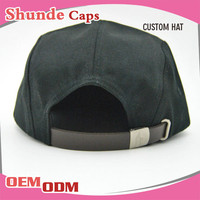 wholesale Supreme 5 Panel Leather Strap Back Hats With Metal Buckle