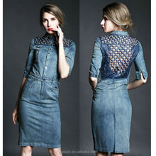 Elbow length sleeve studded unique design dress, cute denim dress woman