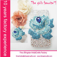 Hot selling 3D Rhinestone rose flower cellphone bling case for iphone 6 4s
