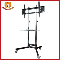 "Black Heavy-Duty Steel Shelf height adjustable up and down vertical iron tv stand fits 32""-70"" monitors"