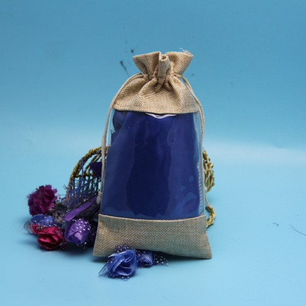 Cheap fashional drawstring jute pouch with window
