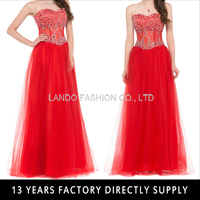 2015 Formal Floor Length Strapless Sweetheart Red Tulle Evening Dress Beaded Prom Gown GK000021-1