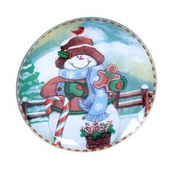 Christmas Design Round Shape Glass Plate Lovely Funny Christmas Design Glass Tray