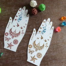 Moon and Star Hand-shaped Metallic Body Temporary Tattoo for Party Time