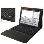 High Quality Silicone Key Bluetooth Keyboard with Folding Leather Protective Case for New iPad