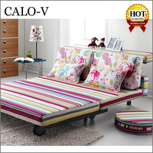 Fashion Printing colorful folding sofa cum bed with wheels for sale