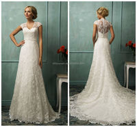 alibaba latest dress designs vintage short sleeve lace bridal gowns wedding dresses 2014 custom made CYAW-044