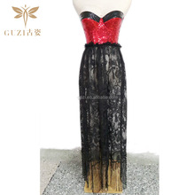 2015 New Hot Red Sequin Sexy Long Corset Dress With Dark Lace Long Corset Dress