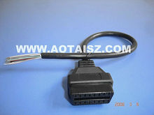 OBD Female OBDII Connector to open cable 16P 26 AWG female wiring harness