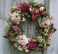 Factory direct wholesale fake garland real touch artificial flower wreath for decoration