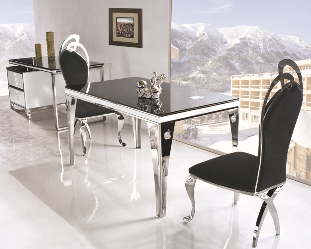Th299 cheap black tempered glass dining table on sale for Cheap black dining table