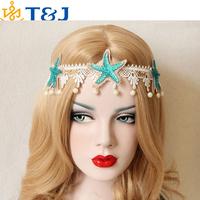 >>>2015 new! Korean style fashion hair band women head band white lace blue star headband &