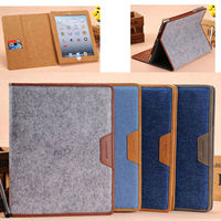Jeans design for ipad 2/3/4 protective case, for ipad 2/3/4 smart case 2015 new arrival