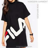 Fashion ladies casual dresses pictures high neck t-shirt dress with logo front printed vestidos casuales HSd7008