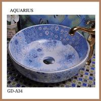 Beautiful patterned ceramic vessel sink for kids