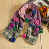 Handmade flowers thick purple knitted scarf