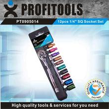 """12pcs 1/4"""" CRV color coated SQ auto repair tool box set"""