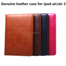 Top quality crystal pattern genuine leather for ipad air case with belt clip