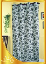 Polyester flocking with faux silk background window curtain