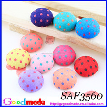 HANDMADE POLKA DOTS WRAPPED ROUND SHAPE BUTTON DECORATION