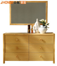 K5806 hot sale oak solid wood chest of drawer with mirror