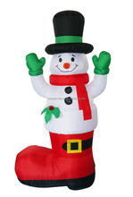 180cm/6ft Christmas inflatable snowman with big red Christmas stocking decoration