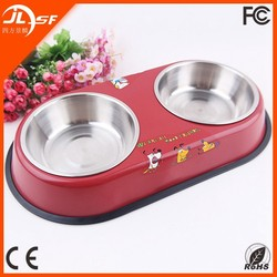Factory direct wholesale high quality anti-skidding stainless steel pet bowl with two bowls