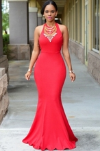 2015 latest design trendy sexy red halter daring back evening dress for women