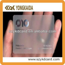 2014 New Product Contactless RFID PVC Blank Transparent NFC Card