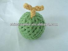 apple shaped cotton rope dog toys