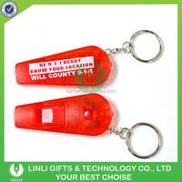 Superior Plastic Led Whistle Keychain , Whistle Keyring,LED Keychain