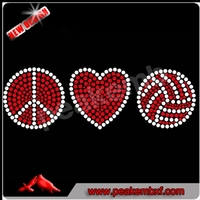 Newest Peace Sign Volleyball Rhinestone Iron On Transfers Wholesale