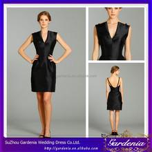 2012 Hot Sales Fashionable V-neck Short A-line Black Color Sastin Fabric Bridesmaid Dress Low Back (SA158)