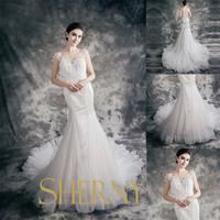 2015 hijab Sweetheart neckline crystal beaded organza wedding gown very long tail white mermaid wedding dress sale on alibaba