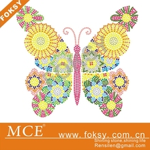 colorful butterfly hot fix rhinestone transfer motif designs