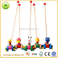 High quality Pine hand push animal toys natural baby toys