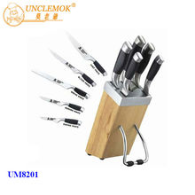 6pc japanese knife set in stainless steel hollow handle with TPR outer coating