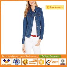 2015 New Wholesale Popular Ladies Autumn Long Sleeve Denim Jean Jackets for Women