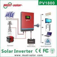 <Must solar >Lcd 12v 24v 48v Dc 230v Ac 1000w - 5000w Solar Power Inverter